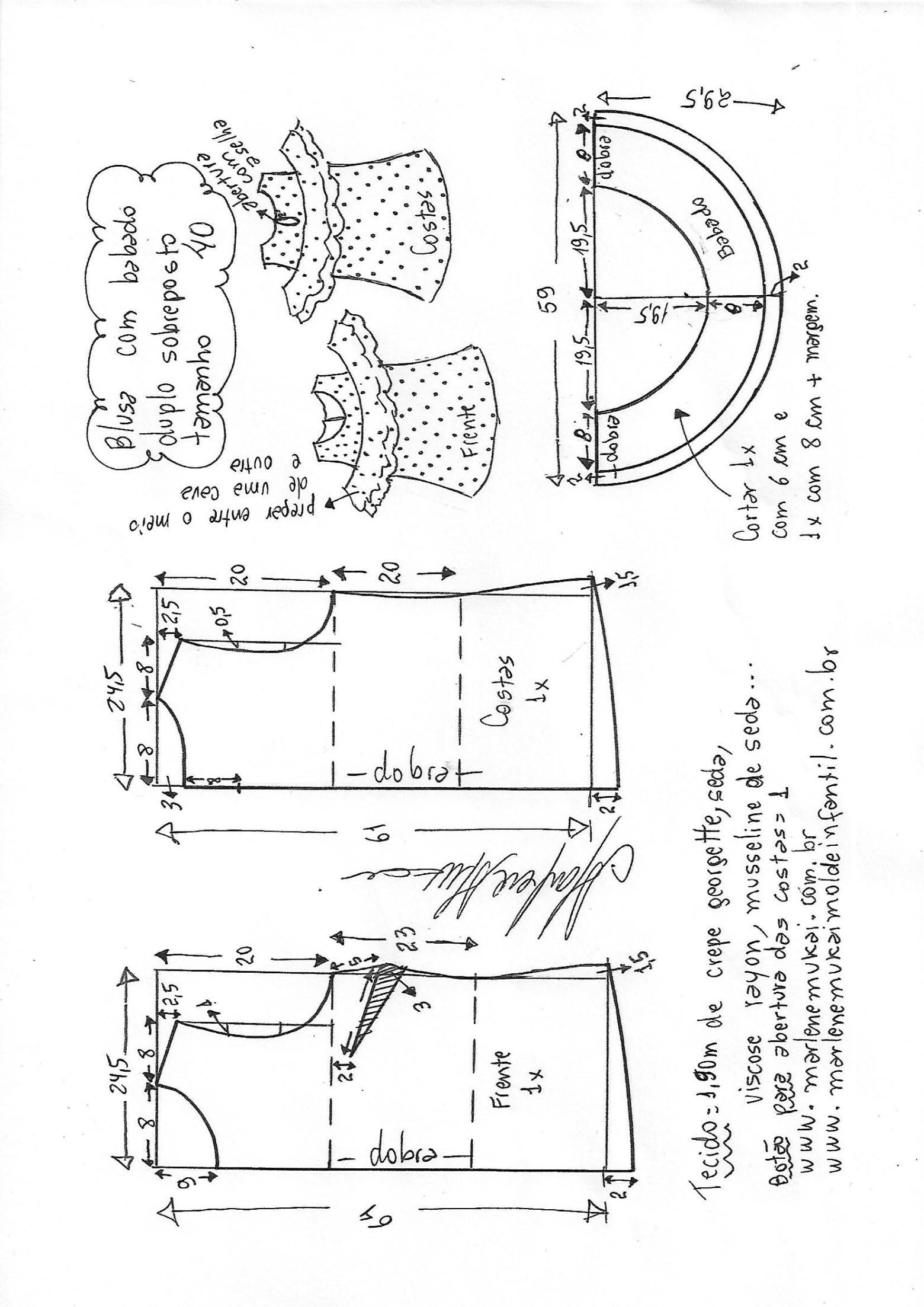 Blusa com babado sobreposto duplo e ombros vazados | DIY - molde ...