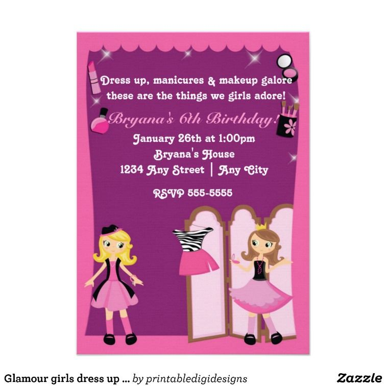 Glamour girls dress up Makeover Party Invitations