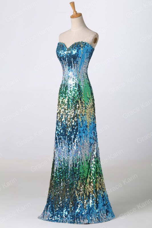 SHINY LONG FORMAL PROM DRESS EVENING PARTY COCKTAIL Ball Gown ...