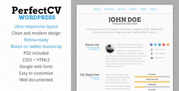 Shopping PerfectCV Responsive CV / Resume Themelowest