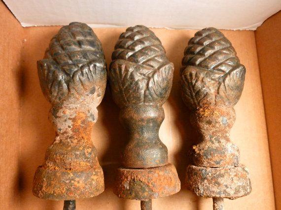 3 Antique Vintage Cast Iron Pine Cone Shaped Hose Guides By 941dan