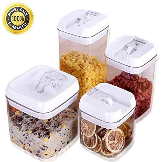 easy lock airtight kitchen storage containers 4 piece set plastic canisters with vacuum seal lids easy lock airtight kitchen storage containers 4 piece set plastic      rh   pinterest com