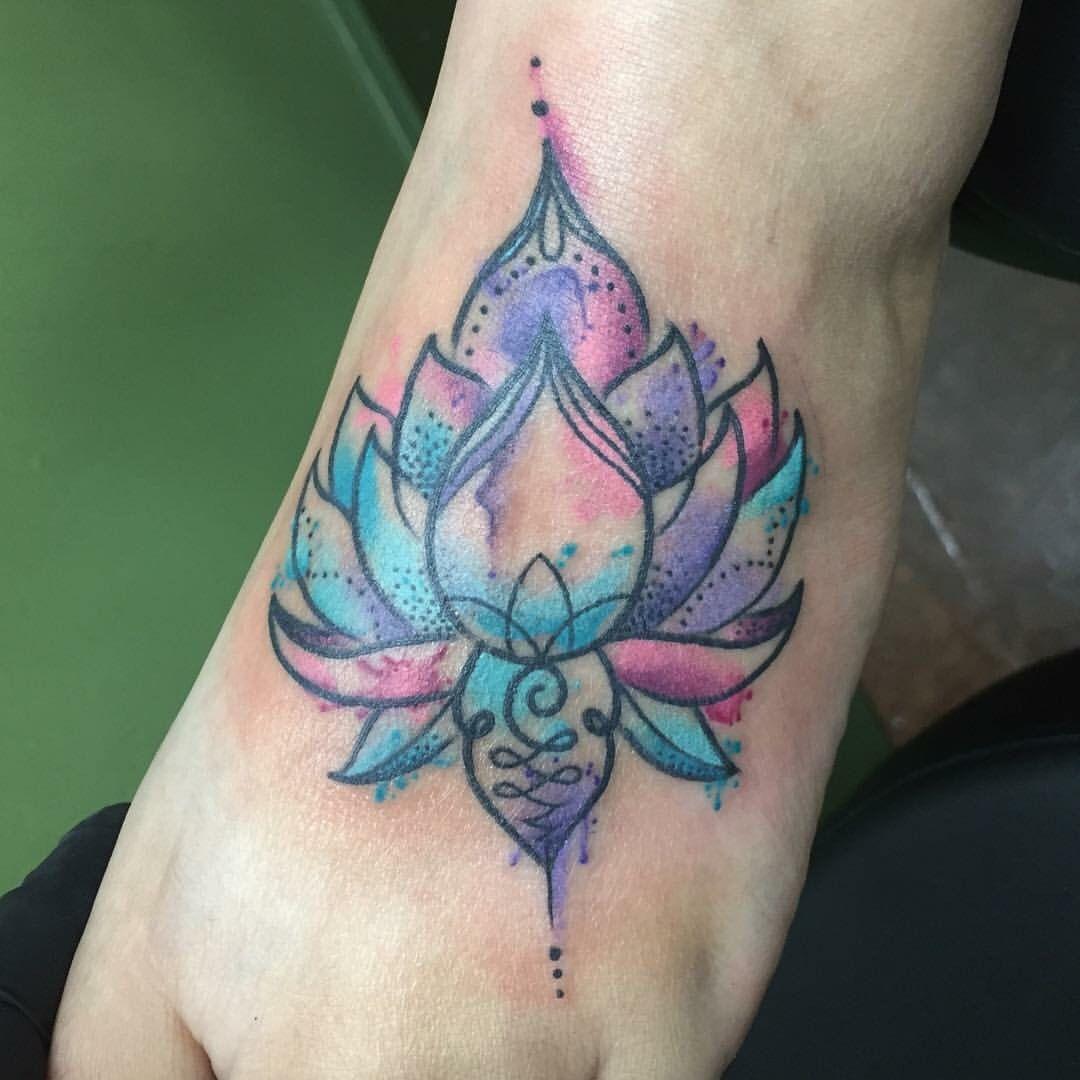 Watercolor Lotus Blossom Foot Tattoo Ink Pinterest Tattoo
