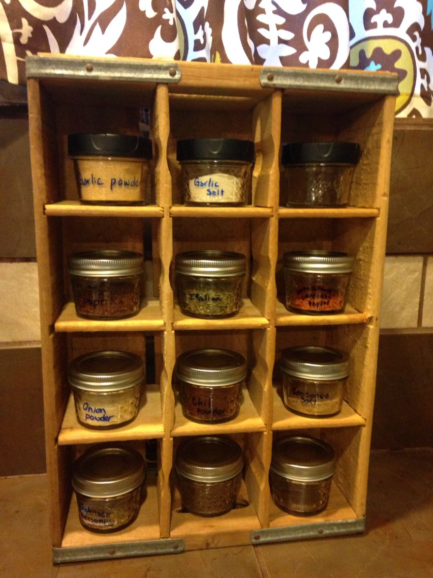 Diy Spice Rack Out Of A Soda Crate 4oz Ball Mason Jars For Spices