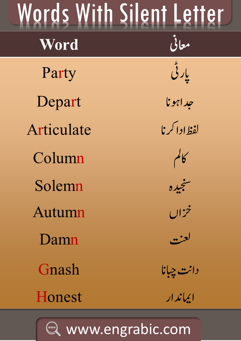 List Of Silent Words English Vocabulary Words Learn English Words English Words