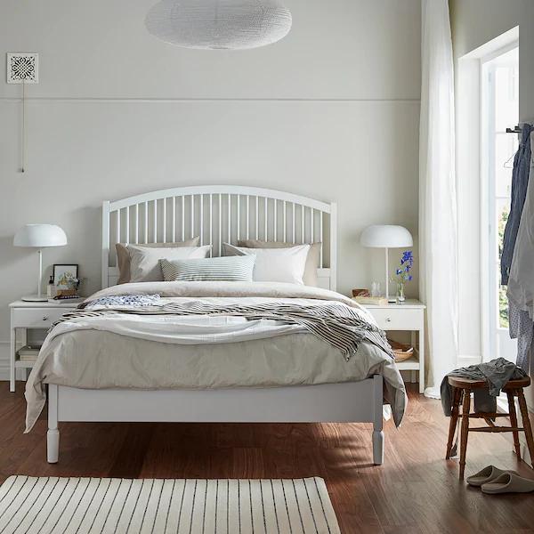 Tyssedal Bed Frame White Full Ikea In 2020 Bed Frame Adjustable Beds Bed Slats