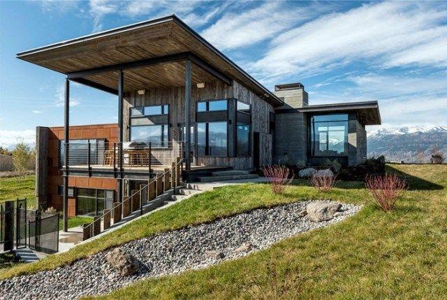 Moderne häuser mit holz  modernes haus pultdach hügel holz metall fassade | home ...