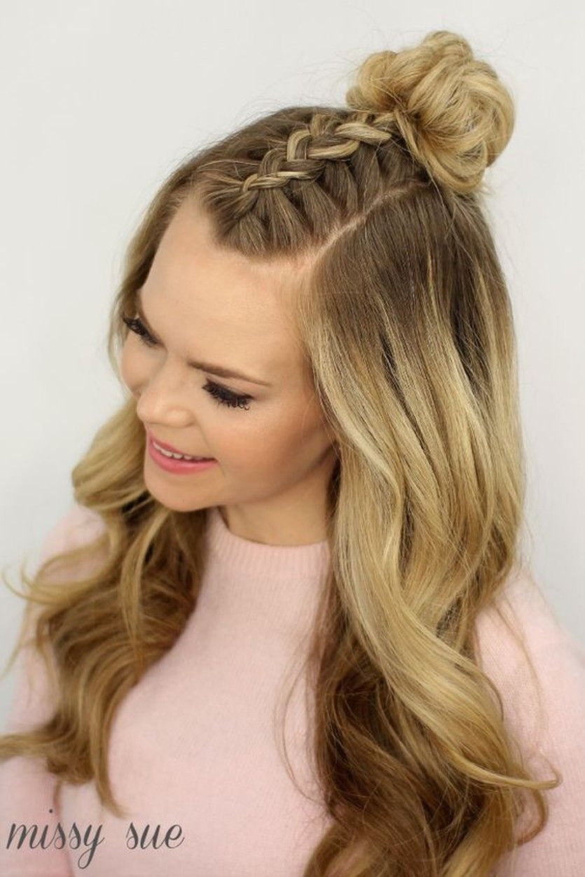tutorial mohawk braid into top knot halfupdo for medium