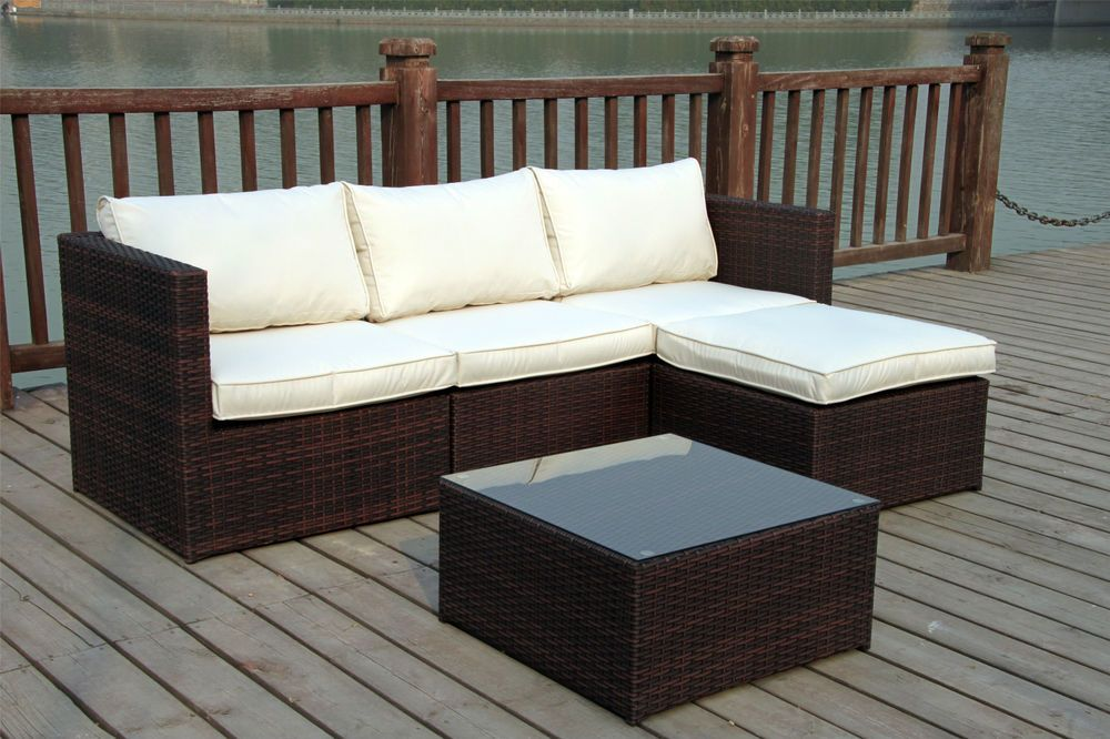 new rattan wicker conservatory outdoor garden furniture set corner sofa table