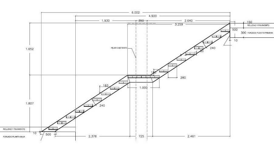 Escalera jpg 902 549 medidas escaleras pinterest for Medidas escaleras