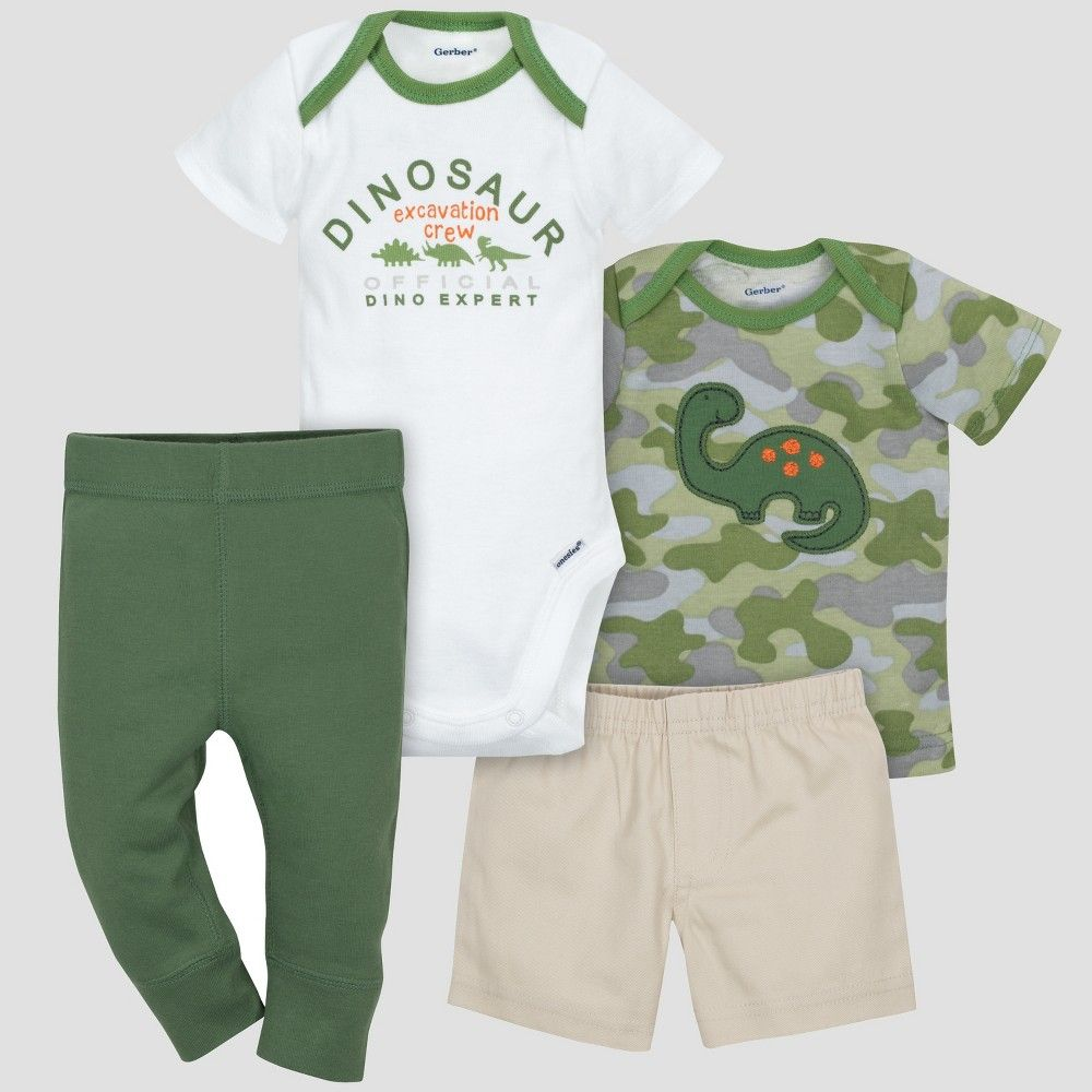 2c9520ef5b5e This boys  4pc set from Gerber will give you multiple outfits to choose  from! This set includes one Gerber Onesies brand short sleeve bodysuit shirt  shorts ...