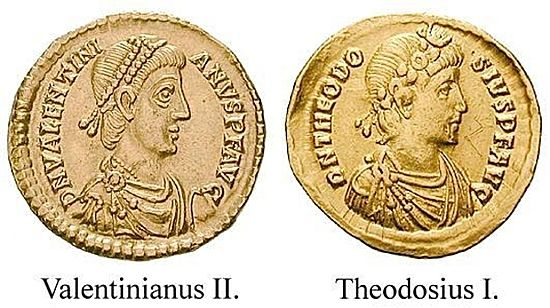 Here are coins inscribed with the names of Valentinian II - a Roman emperor who was driven out of Italy by Magnus Maximus - and Theodosius the Great - the Roman emperor who defeated the army of Maximus's cavalry commander Andragathius at Siscia, which seems to be the historical battle behind the climactic battle of Siesia in the Arthurian tales.