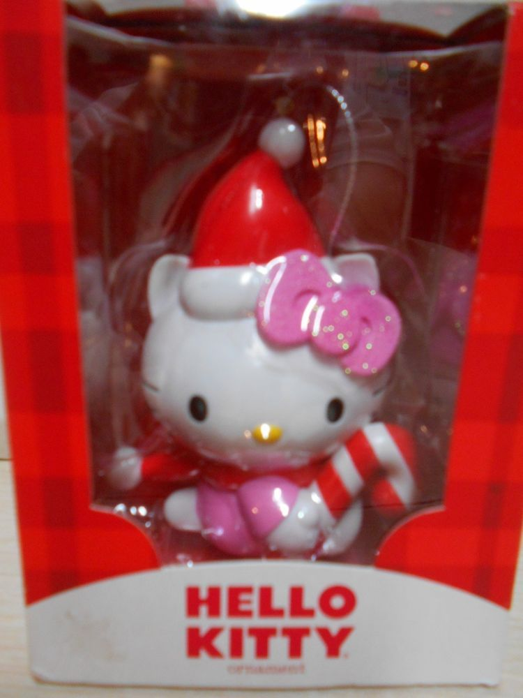Pink  White Hello Kitty Christmas Ornament W/Original Box Tree