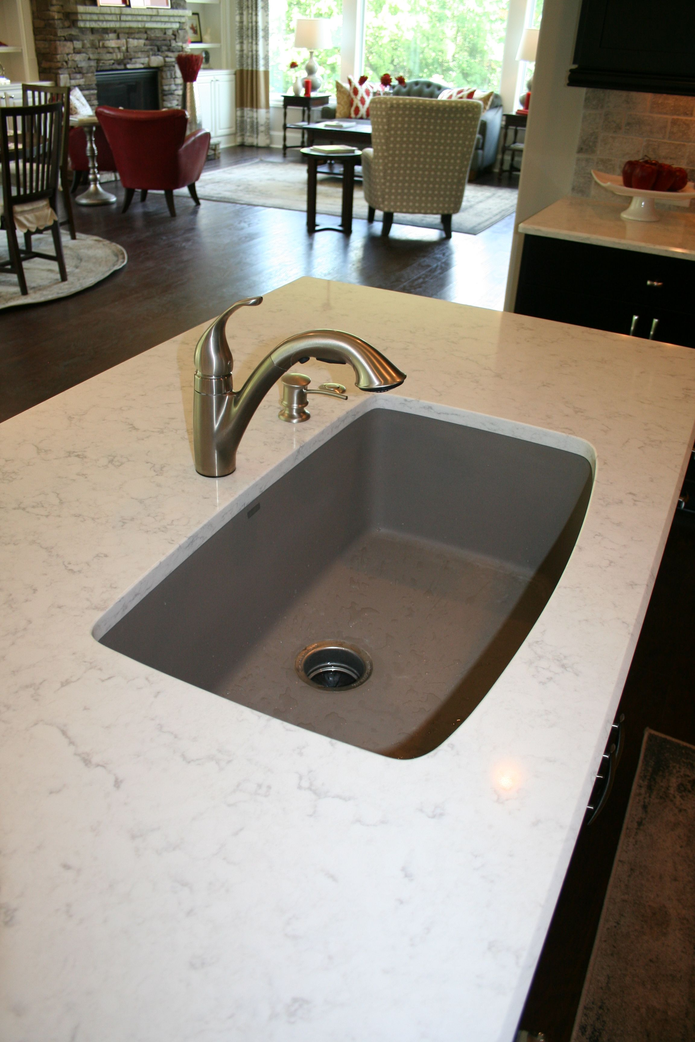 Quartz Countertop With Single Bowl Blanco Truffle Sink And Moen