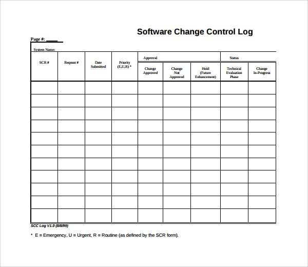 Change Log Templates 9 Free Word Excel Pdf Formats
