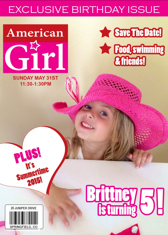 PRINTABLE American Girl inspired magazine cover birthday invitation ...