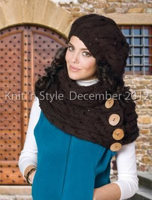 """Knit 'n Style Magazine  """"Cabled Hat  Cowl"""" is a hip accessory set, including a slouchy hat and a long scarf that can be styled in a variety of ways. From our December 2012 issue, now on sale."""