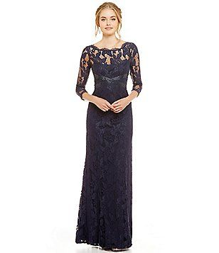 592a7fae Adrianna Papell Beaded Lace 3/4 Sleeve Gown | womens outfits ...