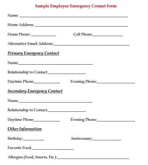 Employee Emergency Contact Form 9 Emergency Contact Form Emergency Contact Contact Form