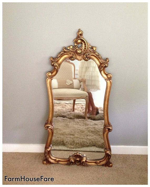 LARGE ORNATE MIRROR Hollywood Regency Baroque Mirror Wall Hanging Bathroom Mirrors Gold Gilt Leaning