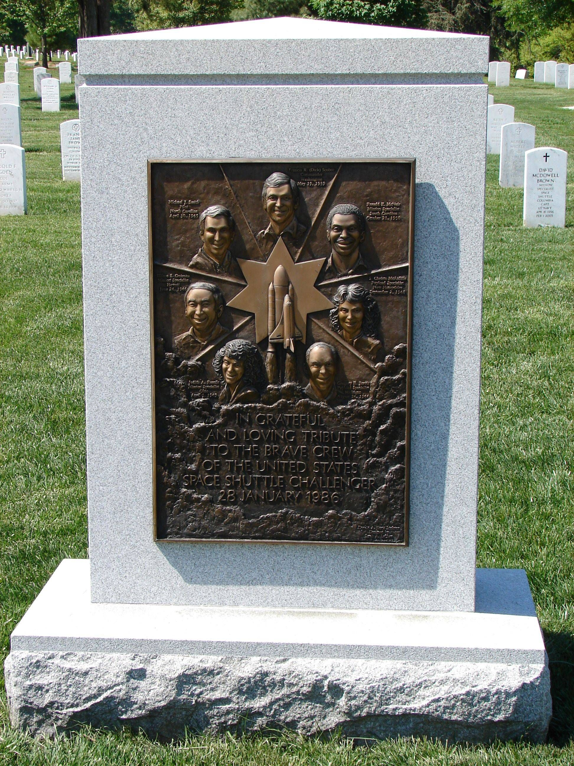 Space Shuttle Challenger Memorial at Arlington National ...