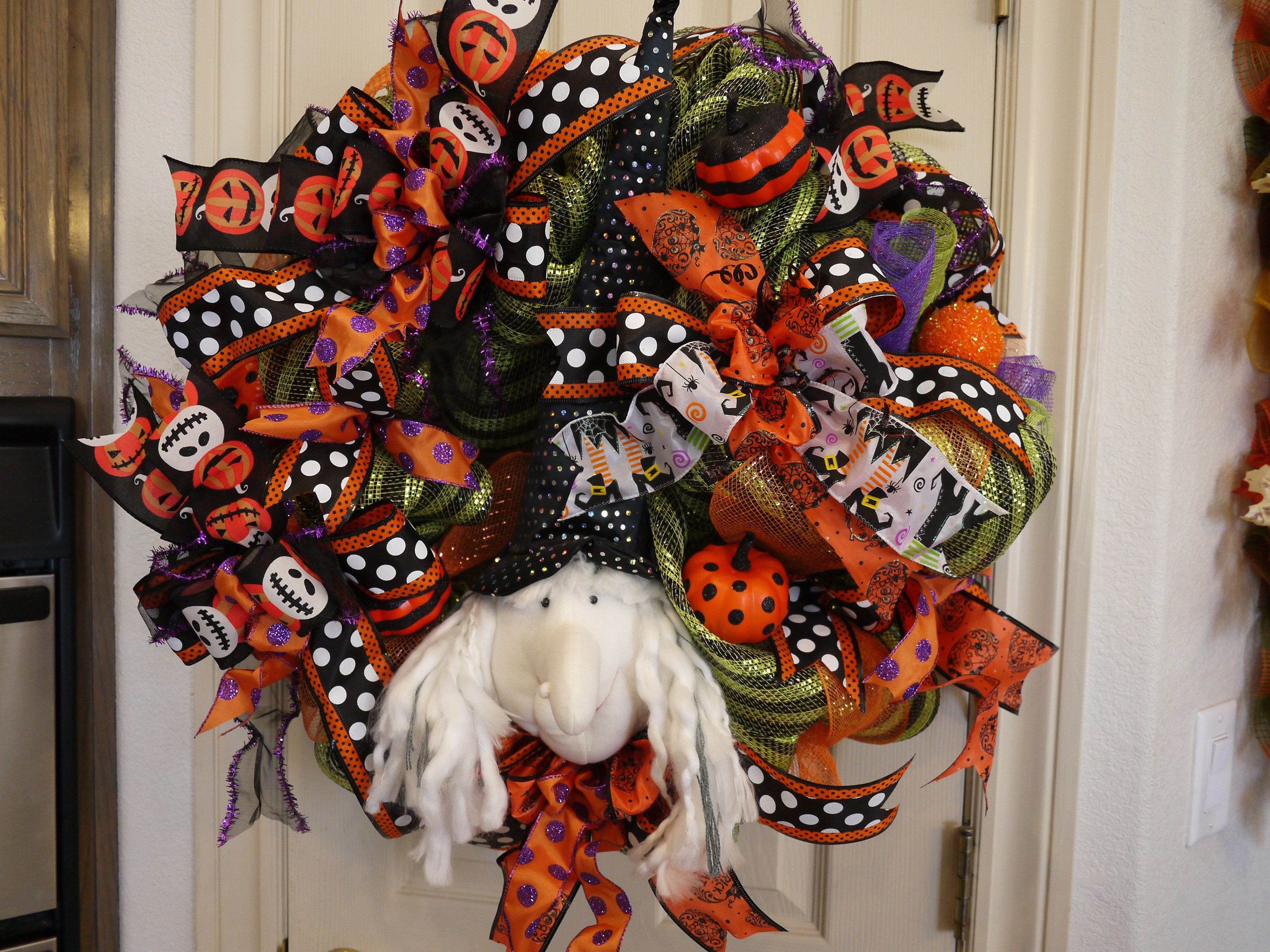 Halloween Witch Wreath, Whimsical Witch Wreath, Witch Decor, Witch - Whimsical Halloween Decorations