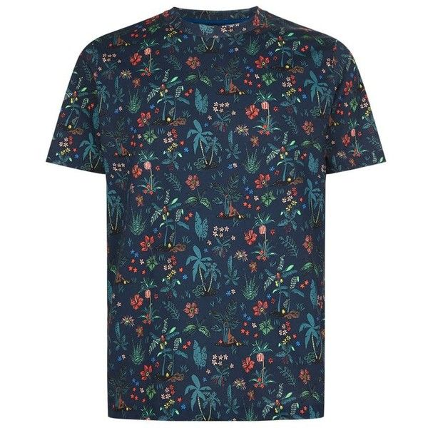 PS By Paul Smith Botanical Floral T-Shirt ($92) ❤ liked on Polyvore featuring men's fashion, men's clothing, men's shirts, men's t-shirts, mens floral print shirts, mens cotton t shirts, mens cotton shirts, mens floral t shirts and mens floral shirts