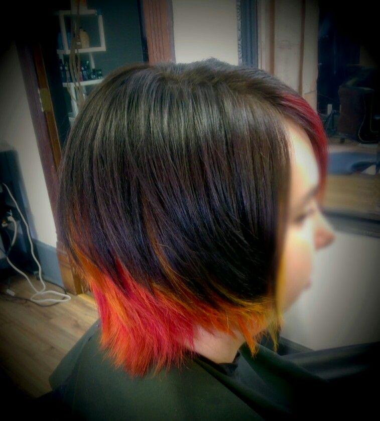Pravana vivid red, neon oraange, neon yellow. By kelly @artisanhairloungesalon