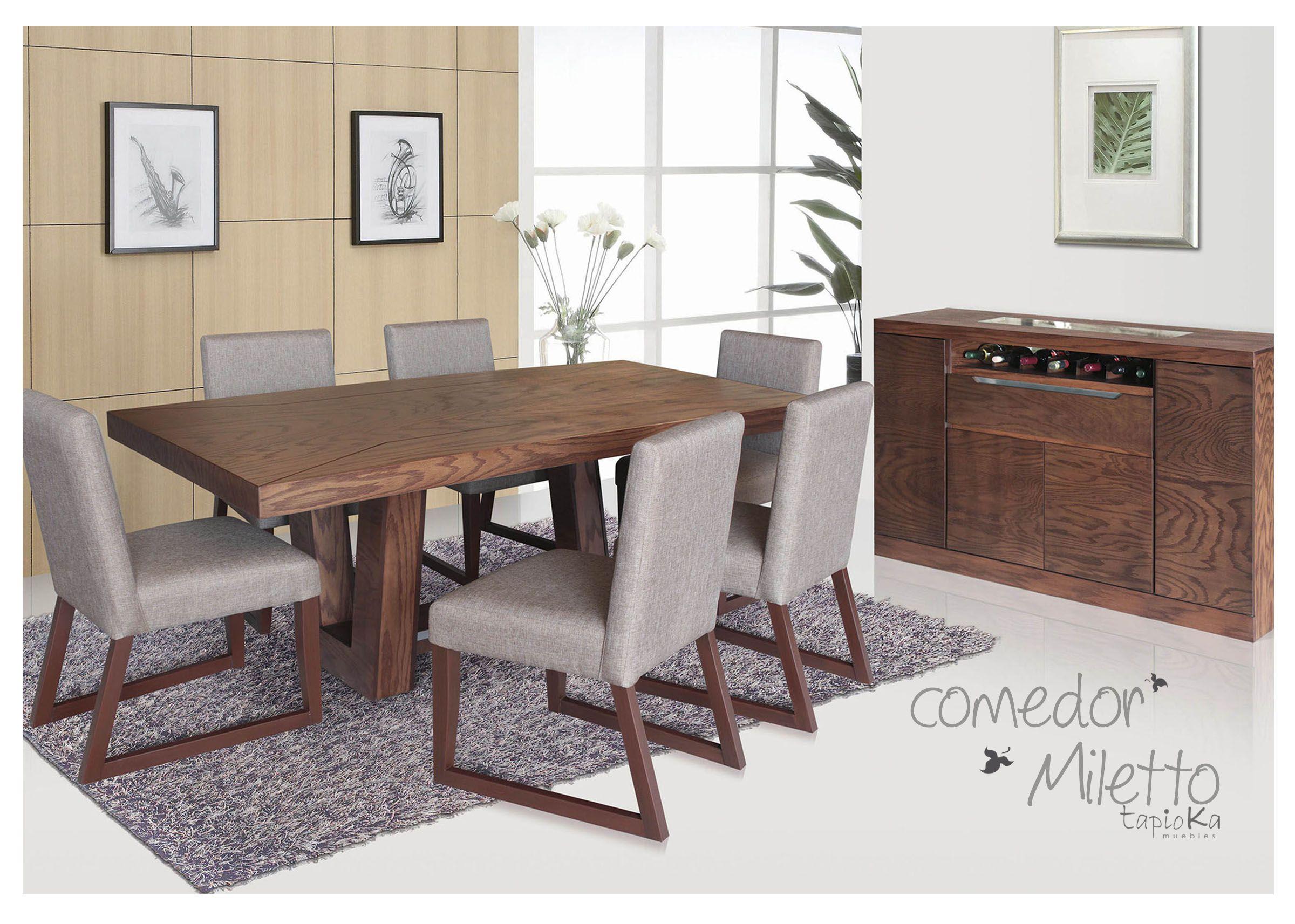 Comedor Miletto Encino Tabaco Oak Contemporary Dining Table  # Muebles Liverpool Salas