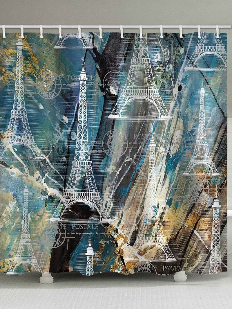 Eiffel Tower Painting Background Print Water Resistant Shower