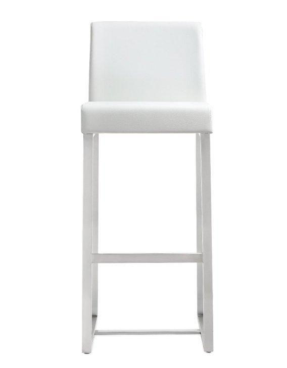 Deangelo White Steel Barstool Set Of 2 White Leather Bar