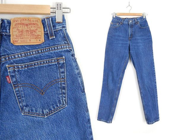 ec060970429fd Vintage Levis 550 High Waisted Women s Jeans - Size 4 - 80s 90s Stone  Washed Medium Blue Tapered Relaxed Fit Normcore Mom Jeans - 26