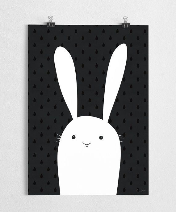 Bunny art print black and white poster nursery by agrapedesign