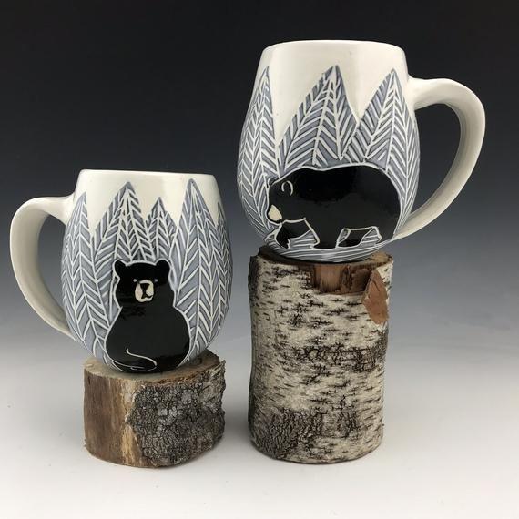Handmade Sgraffito Bear Pottery Mug in Black and White | Etsy #potterypaintingideas