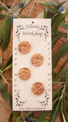 Hand made Greek olive wood round buttons