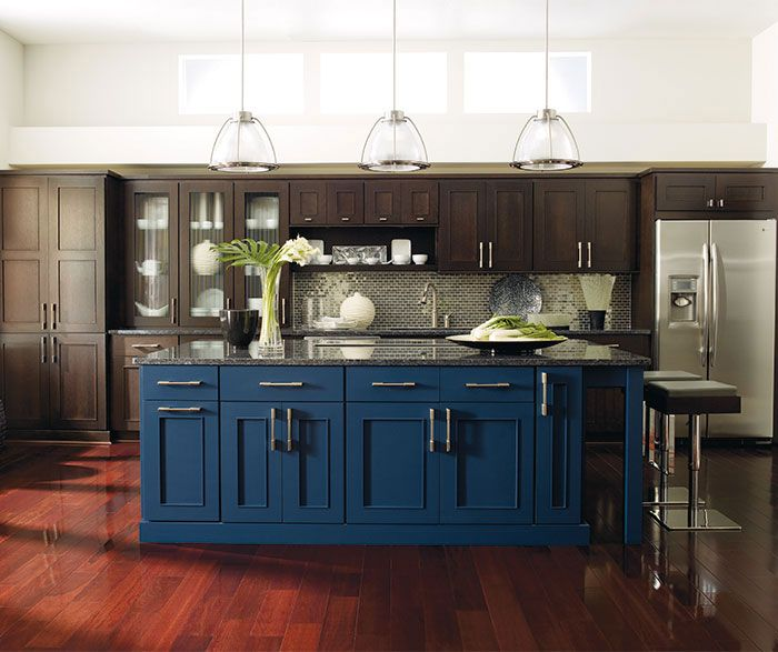 Beautiful Dark wood cabinets with a blue kitchen island by Dynasty Cabin  LI21