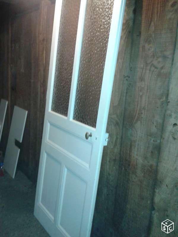 Porte ancienne en bois vitrée taille 220 X 84 cm Bricolage Savoie