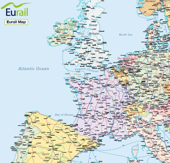 Eurail railway map of europe plan your eurail or interrail trip eurail railway map of europe plan your eurail or interrail trip with this free downloadable gumiabroncs Images