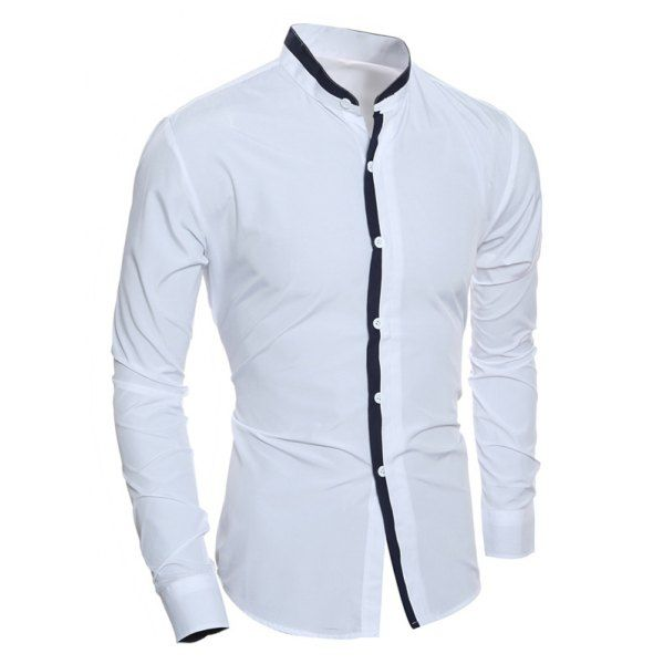 cebca163c9 Color Block Edging Long Sleeve Grandad Chinese Collar Shirt - White M Mobile