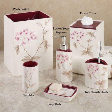 Red Cherry Blossom Bath Accessories