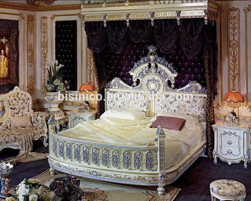 Italian / French Rococo Luxury Bedroom Furniture , Dubai