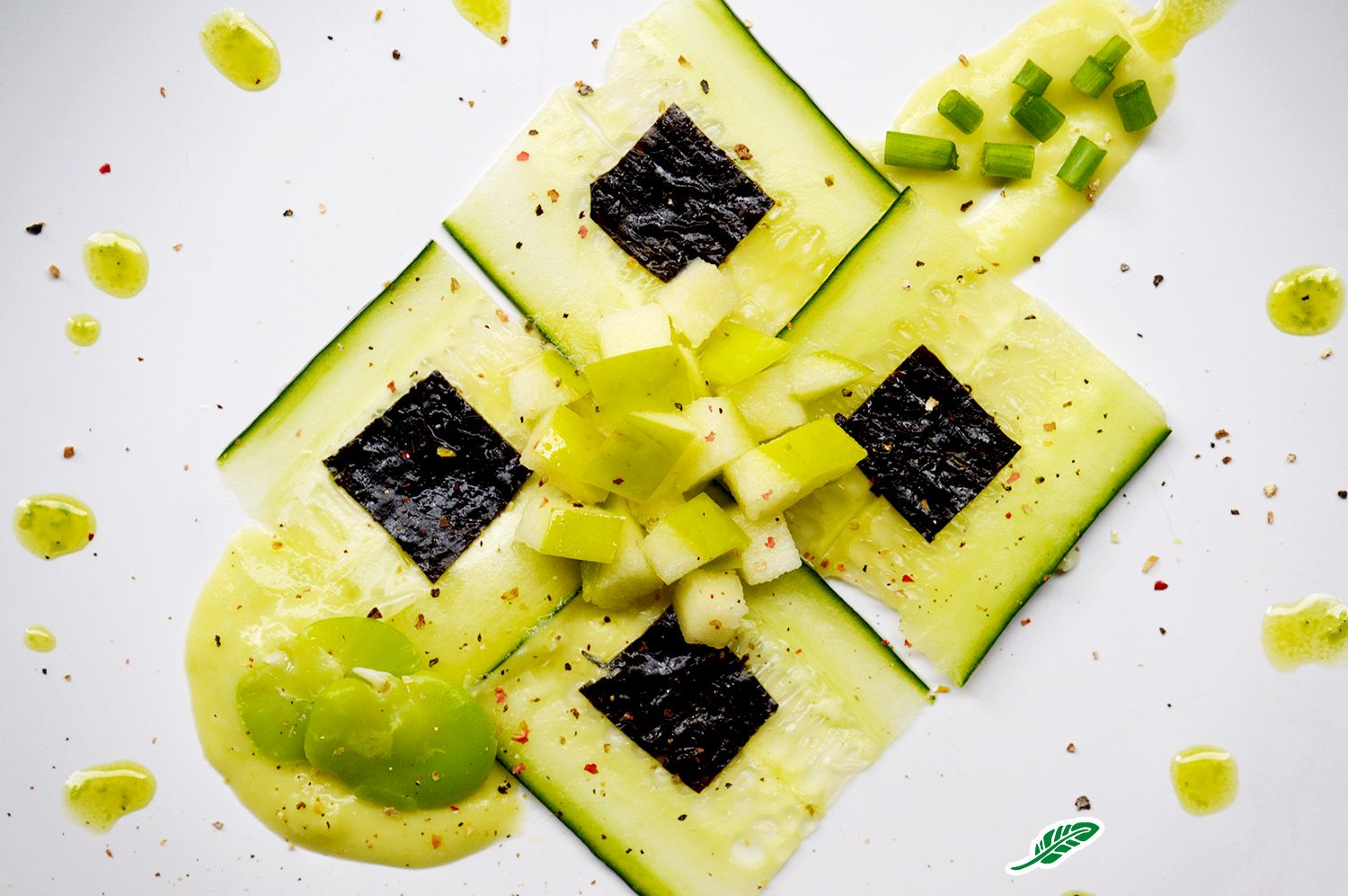 "Best Cucumber ""Carpaccio"" With Puréed Fava Beans Green Apple 400 x 300"
