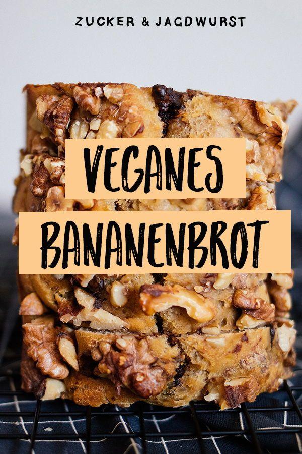 Veganes, simples Bananenbrot mit Walnüssen & Schokolade