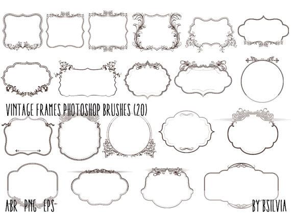 Photoshop Brushes Pack Vintage Frames Transparent PNG Files Vector