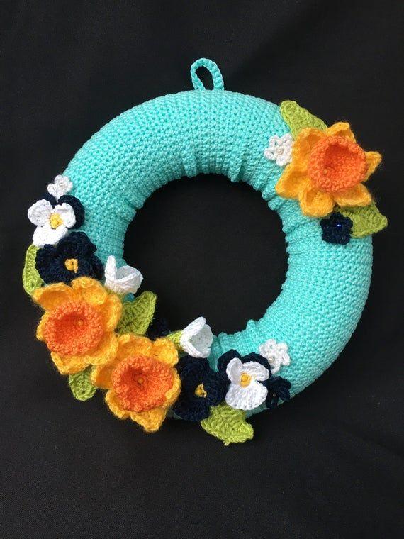 Photo of Spring wreath, winter wreath, crochet wreath, flower wreath, crochet flowers, door hanger, wall hang