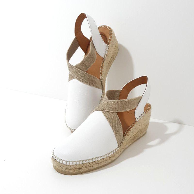 e87764cb61643c ESPADRILLES Compensées Cuir Blanc marque TONI PONS chaussures femme compensé  6 cm. Espadrilles tendance printemps