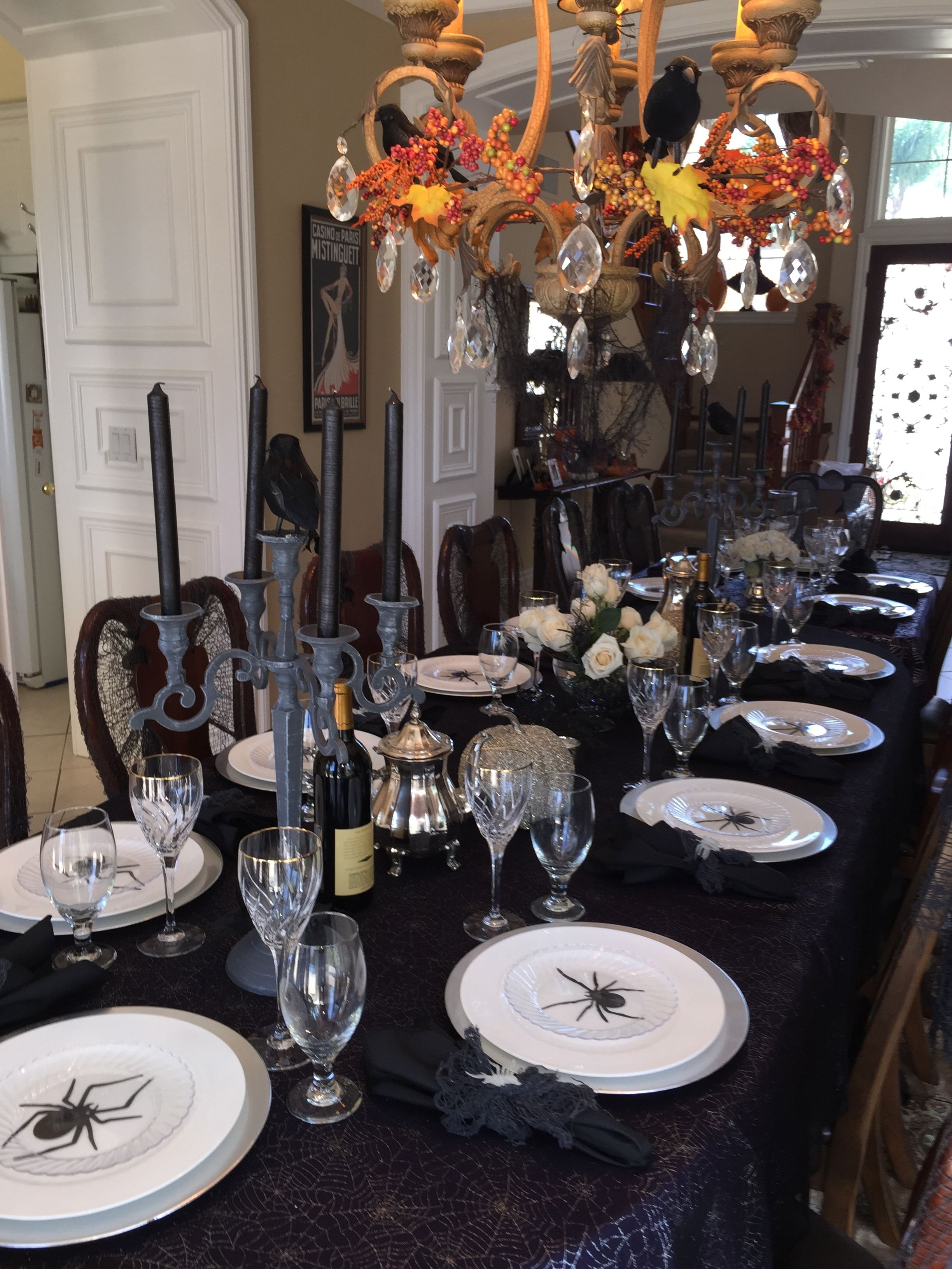 elegant halloween tablescape for dinner party dollar store package of spider cutouts are. Black Bedroom Furniture Sets. Home Design Ideas