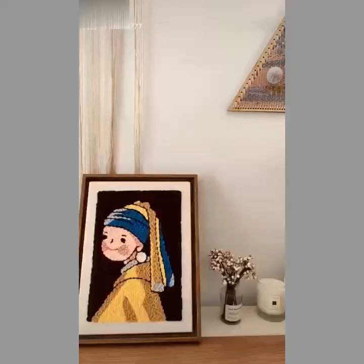 Photo of DIY: how To Punch Needle Embroidery-Girl with a Pearl Earring