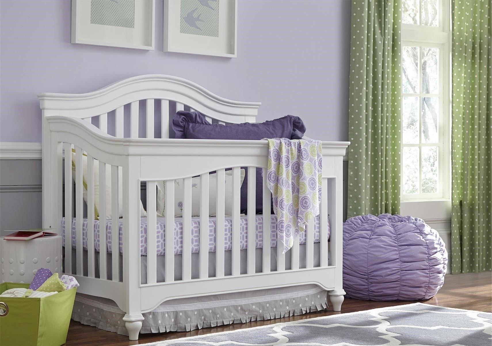 Lacks   Classics 4.0-White Convertible Crib with Bed Rails ...