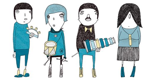 Illustration by Stine Kaasa (via Jessica Swift) #StineKaasa #turquoise #band #music